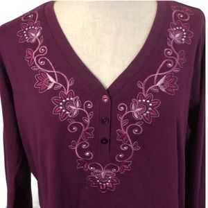 Great Northwestern Purple embroidered floral  top